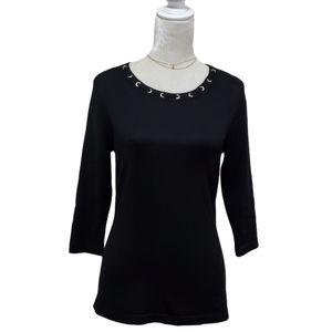 Karen Scott Sweater Grommet Black Ribbed Knit